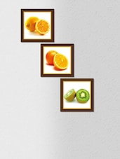 Multicolored Synthetic Wood And Paper Fruit Printed Wall Painting With Frame - By