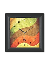 Multicolored Plastic And Glass Waves Pattern Printed Wall Clock - By
