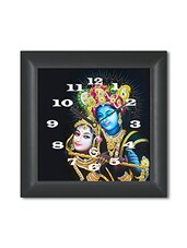 Multicolored Plastic And Glass Radha Krishna Printed Wall Clock - By