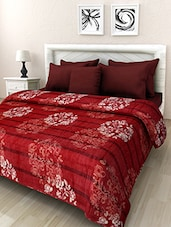 Red Floral Printed Double Bed Blanket - By