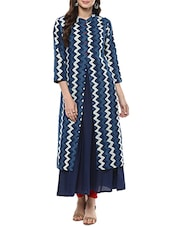 blue cotton bagru printed a-line kurta -  online shopping for kurtas
