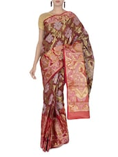 Maroon And Gold Jacquard Art Silk Saree - By