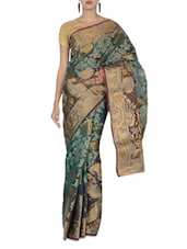 Dark Green Jacquard Art Silk Saree - By