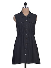 Black Crepe Plain Button Down Dress - By