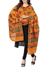 Orange Cotton Phulkari Dupatta - By