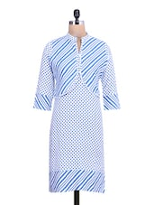 White Polka Dots Cotton Kurta With Printed Jacket - By