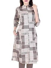 Grey Cotton Printed A-line Kurta - By