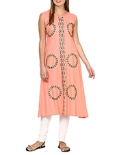 peach rayon aline kurta -  online shopping for kurtas