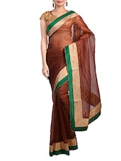 Brown Cotton Saree With Gold Border - By