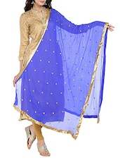 Blue Chiffon Embroidered Dupatta - By