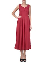 Sleeveless Round Neck Red Poly Crepe Dress - By