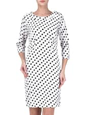Full Sleeve Round Neck White Poly Crepe Dress - By