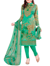 green crepe straight dress material -  online shopping for Dress Material