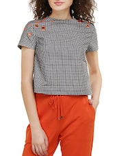 black checkered cotton regular top -  online shopping for Tops