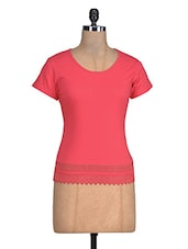 Coral Red Cotton Top With Lace Hem - By