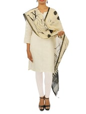Tribal Print Beige And Black Chanderi Dupatta - By