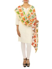 Off-White Chiffon And Multicolor Thread Phulkari Dupatta - By