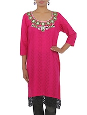 Pink Embroidered Cotton Kurta   With Lace Hem - By