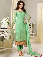 Green unstitched suit set -  online shopping for Dress Material
