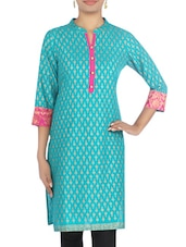 Turquoise Cotton Printed Kurta - By