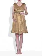 Gold Silk Blend Fit And Flare Maternity Dress - By