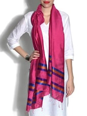 Pink And Blue Viscose Dupatta - By
