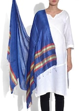 Blue Viscose Striped Dupatta - By