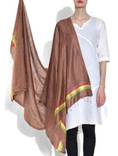 Brown Viscose Striped Dupatta - By