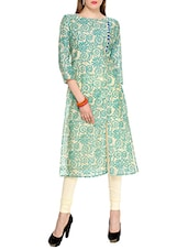 green chanderi long kurta -  online shopping for kurtas
