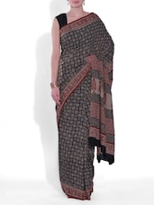 Black And Beige Cotton Printed Saree - By
