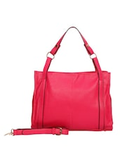Fuchsia Leatherette Shoulder Bag - By