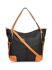Black Leatherette Tote With Strap Detail - By