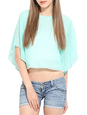 sea green georgette top -  online shopping for Tops