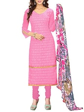 Embroidered Georgette Dress Material(Pink) - By