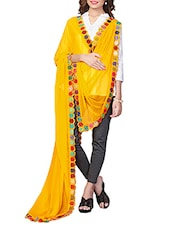 Yellow Chiffon Embroidered Phulkari Dupatta - By