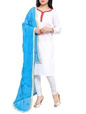 Blue Chiffon Embroidered Phulkari Dupatta - By