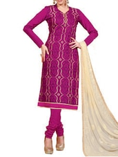 Chanderi Silk Chudidar Dress Material(Wine) - By