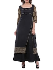 black cotton printed high slit kurta -  online shopping for kurtas