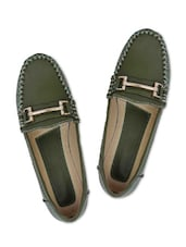 Olive Green Faux Leather Loafers - By