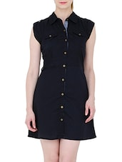 black cotton shirt dress -  online shopping for Dresses