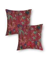 Red Cotton Kantha Embroidered And Bird Printed Cushion Cover Set - By