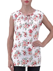 White Floral Printed Polycrepe Top - By