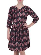 Black Printed V- Neck Crepe Dress - By
