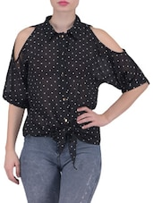 Black Polka Dot Printed Cutout Georgette Top - By