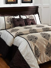 Ivory And Brown Printed Bedding Set ( Set Of 5 ) - By