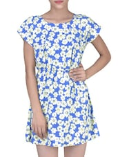 Blue Polyester And Crepe Floral Printed Dress - By