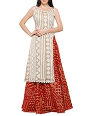 beige soft silk kurta with red skirt set -  online shopping for Sets