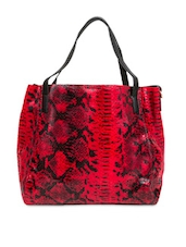 Red Faux Leather Animal Printed Tote Bag - By