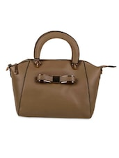 Brown Faux Leather Solids Winged Tote Bag - By
