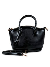 Black Faux Leather Solids Tote Bag - By